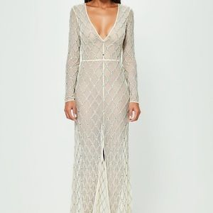 Peace + Love Nude Embellished Split Front Dress